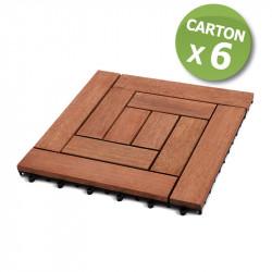 [Destockage] Dalles de terrasse en bois: Merbau clipsable modèle «square 10 lattes»