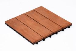 Dalles de terrasse en bois: Merbau clipsable 4 lattes