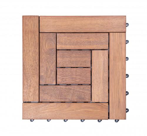 Dalles de terrasse en bois: Merbau clipsable modèle «square 10 lattes»
