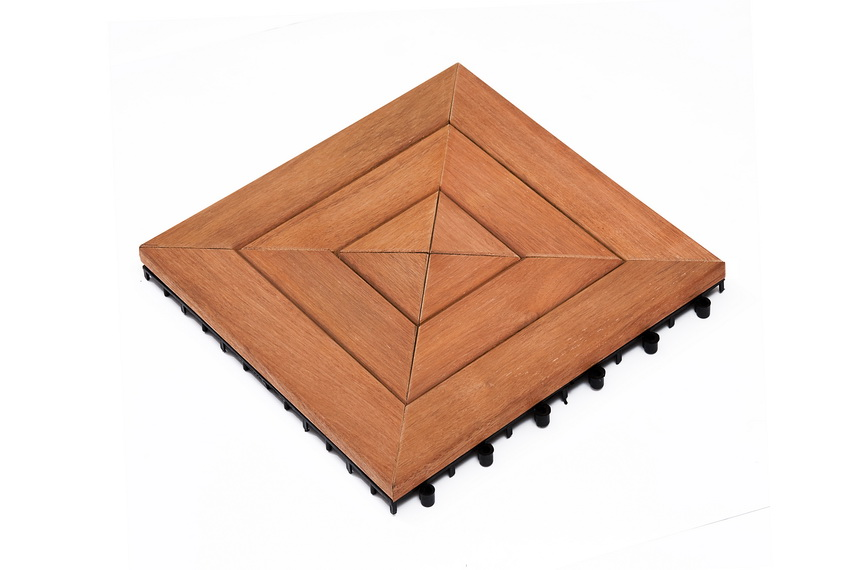 Dalles de terrasse en bois: Merbau clipsable modèle  «cible»
