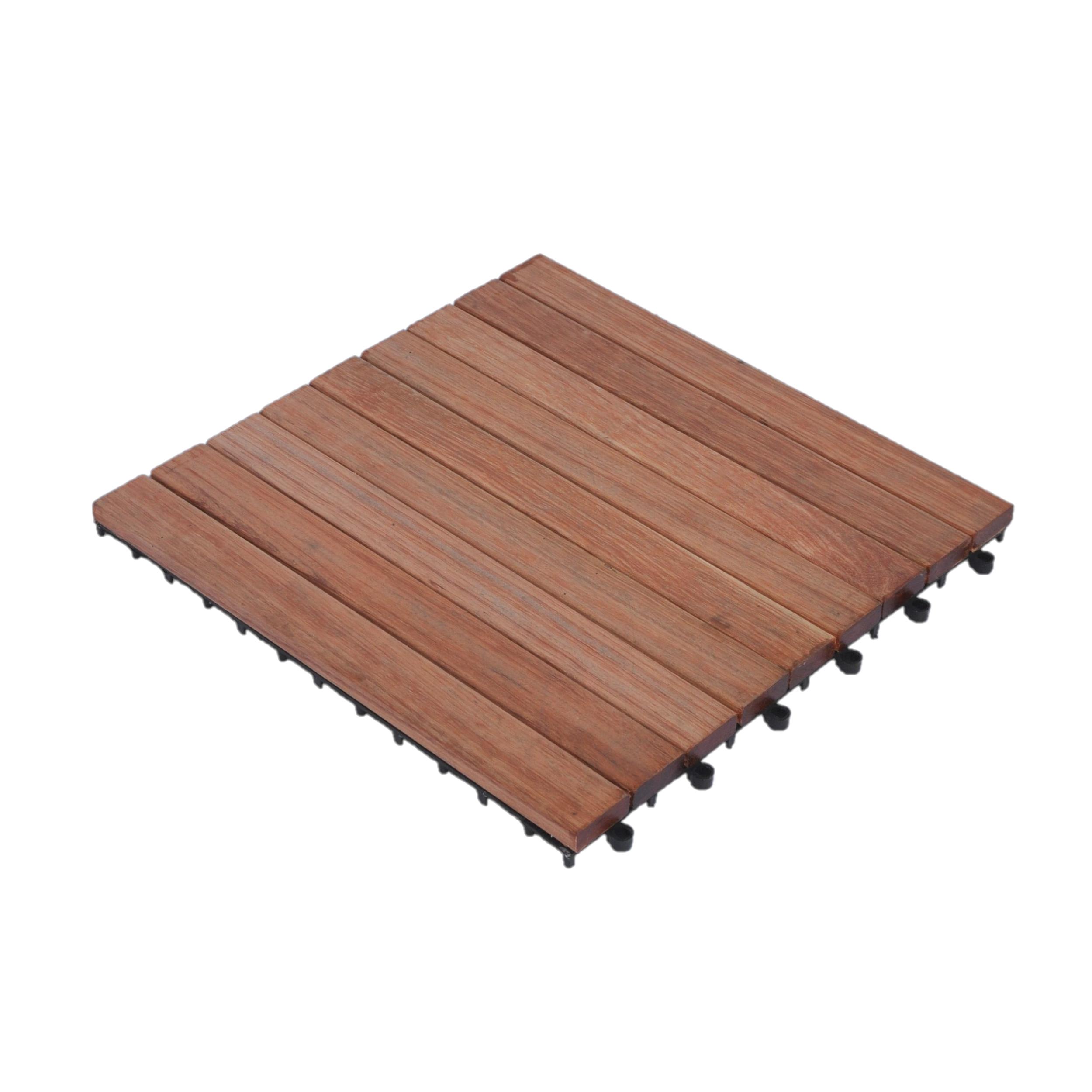 Dalles de terrasse en bois: Kempas clipsable 9 lattes