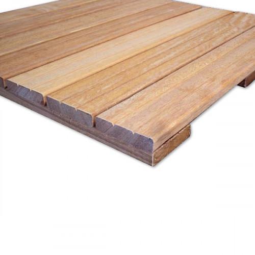 Fin de serie - Lot 115 Dalles de terrasse en bois (28.75m2): Bangkirai 1er choix profil 2 rainures en V