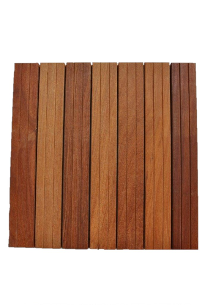 Dalles de terrasse en bois: Cumaru massif 38 x 500 x 500mm
