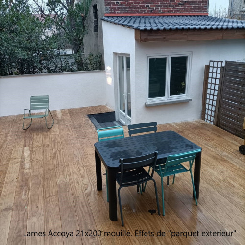 Lames de Terrasse Accoya - 21x150 ou 200mm - Profil Rainure Côté (Clips Novlek) - 3m et +